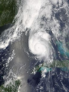Hurricane Charley hitting Florida near Port Charlotte as a Category 4 hurricane, the strongest hurricane to hit the United States since Hurricane Andrew
