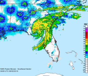 Hurricane Hermine - Radar image of Hurricane Hermine about 40 minutes after landfall