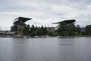 Union Bay (Seattle) - Looking west from Union Bay at Husky Stadium in July 2015