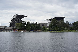 Husky Stadium - Looking west from Union Bay in 2015