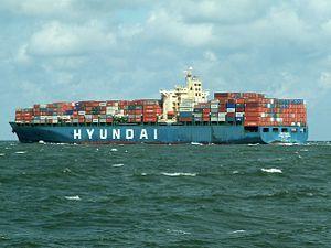 Hyundai General 06Aug05 NW portstern, leaving Port of Rotterdam, Holland 06-Aug-2005.jpg