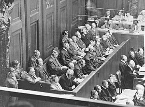 IG Farben Trial - The defendants in the dock on the first day of the trial.