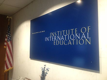 Interior of Institute of International Education (undated) IIE Logo Board in Reception Room at NYC Headquarters.jpg