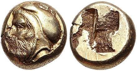 Coinage of Phokaia, Ionia, circa 478-387 BC. Possible portrait of Satrap Tissaphernes, with satrapal headress, but since these coins have no markings, attribution remains uncertain. IONIA, Phokaia. Circa 478-387 BC.jpg