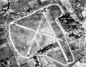 RAF Ibsley - Aerial Photo of Ibsley Airfield, January 1944.  Note the runway extension to the 01 runway at the south side of the airfield, with the perimeter track extension.