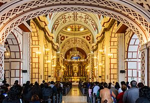 Monastery of San Francisco, Lima - Interior of the temple.