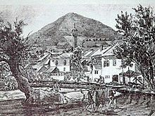 Painting of Visoko and mosque from Ottoman rule
