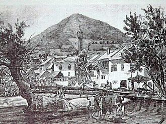 Visoko - Painting of Visoko depicting the Ottoman time of governing Bosnia