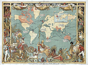 Pax Britannica - An elaborate map of the British Empire in 1886, marked in red, the traditional colour for imperial British dominions on maps