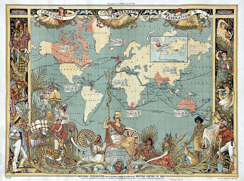 Imperial Federation: a map of the world showing the extent of the British Empire in 1886