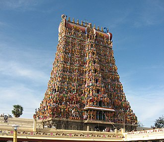 "Shaktism - A gopuram (tower) of the Meenakshi Amman Temple, a Shakta temple at Madurai, Tamil Nadu, India, which was nominated in the ""New Seven Wonders of the World"" competition in 2004."
