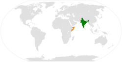 Map indicating locations of India and Somalia