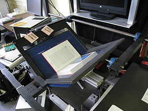 A book scanner at the Internet Archive headqua...