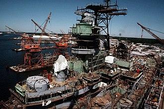 USS Iowa turret explosion - Iowa undergoing modernization in 1983