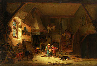 Interior with playing children