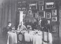 Isabel and Richard Burton in 1890 in Triete Dining Room with furniture belonging to British Consul.PNG
