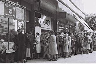 Austerity in Israel - Tel Aviv residents standing in line to buy food rations, 1954