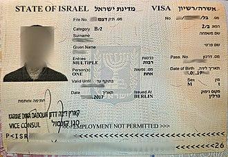 Visa policy of Israel - Israeli visa