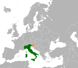 Map indicating locations of Italy and Slovenia