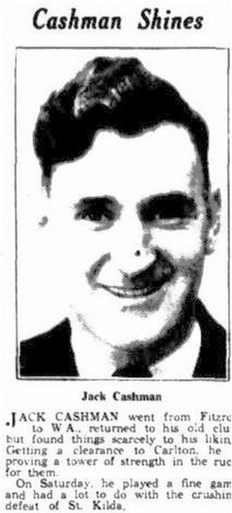 Jack Cashman - Newsclipping of Cashman in June 1934