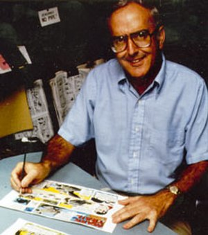 Cartoonist - Cartoonist Jack Elrod at work on a Sunday page of the Mark Trail comic strip