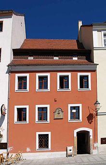 Das Jakob-Böhme-Haus in der ul. Daszyńskiego (Prager Straße) 12 in Zgorzelec (Görlitz), hier lebte Jakob Böhme von 1590 bis 1610 (Quelle: Wikimedia)