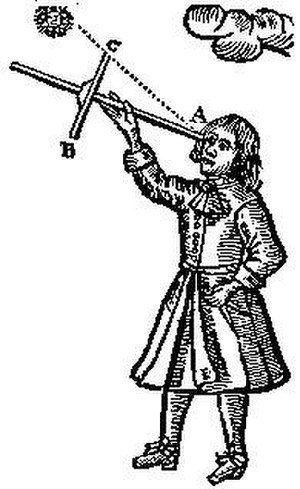 Jacob's staff - A Jacob's staff, from John Sellers' Practical Navigation (1672)