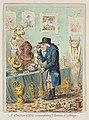 James Gillray, Znalec rozjímající nad půvaby antiky (1801), lept kolorovaný akvarelem, papír 360 x 257 mm, Sbírka grafiky Národní galerie v Praze.jpg