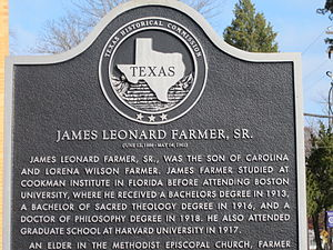 James L. Farmer Sr. - Historical marker dedicated to James L. Farmer Sr. at Wiley College in Marshall, Texas