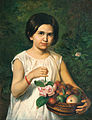 Jan Daniël Beynon - Portrait of an Indonesian girl holding a basket with fruits (1855).jpg