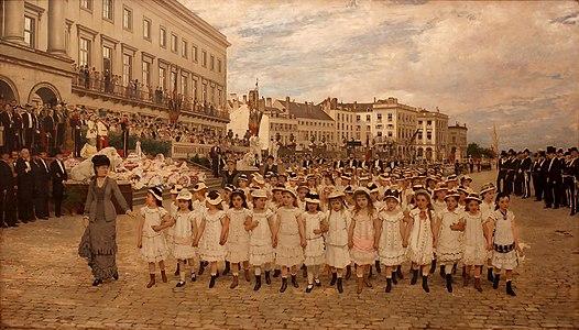Jan Verhas - La revue des écoles en 1878.jpg