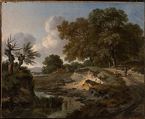 A Wooded Landscape with Travelers and a Dog on a Path