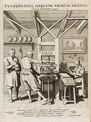 Interior of a printer's workshop (c. 1440)
