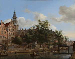 Jan van der Heyden - View of Oudezijds Voorburgwal with the Oude Kerk in Amsterdam