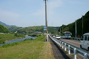 Japan Route 203, railroad and river in Mutabe, Ouchi, Karatsu.jpg