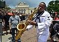 Jarell Harris playing saxophone in Disneyland Hong Kong (40714629233).jpg