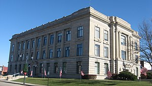 National Register of Historic Places listings in Jay County, Indiana - Image: Jay County Courthouse from southwest