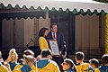 Jessica Fox receiving the plaque from the Premier of New South Wales, Barry O'Farrell.jpg