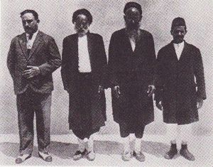 History of the Jews in Libya - Secretary of the community board of Benghazi (left) and members of the rabbinic court