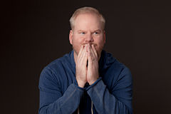Jim Gaffigan making a goofy excited face, Jan 2014, NYC.jpg