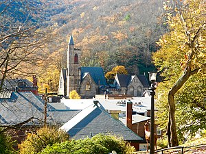 Jim Thorpe, Pennsylvania - View of St. Marks from the Asa Packer Mansion grounds