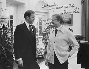 Senator and future Vice President Joe Biden an...
