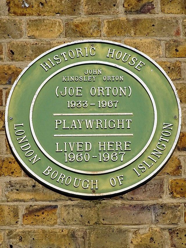 Joe Orton green plaque - John Kingsley Orton (Joe Orton) 1933-1967 playwright lived here 1960-1967