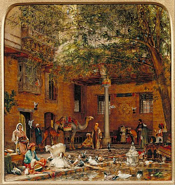 John Frederick Lewis - Study for 'The Courtyard of the Coptic Patriarch's House in Cairo' - Google Art Project.jpg