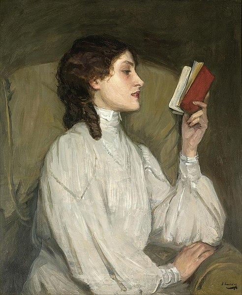 File:John Lavery 'Miss Auras, The Red Book' c.1892, oil.jpg