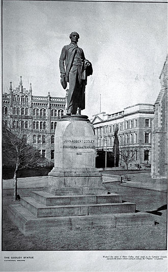 Godley Statue - Second position of the statue north of ChristChurch Cathedral, looking east. In the background are The Press (left) and the Government Buildings.