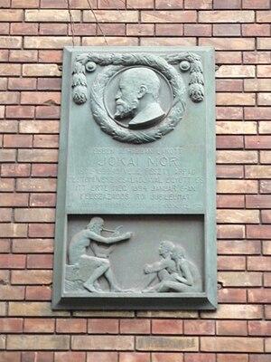 Epreskert Art Colony - Historical marker on the Feszty-Jókai Palace