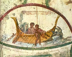 Catacombs of Marcellinus and Peter - Image: Jonah thrown into the Sea