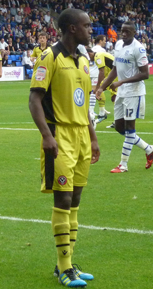 Jordan Slew playing for Sheffield United in 2012