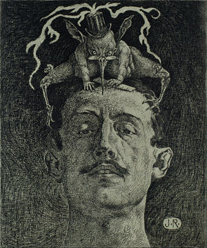 Criticism - Crítica, engraving by Julio Ruelas, ca. 1907